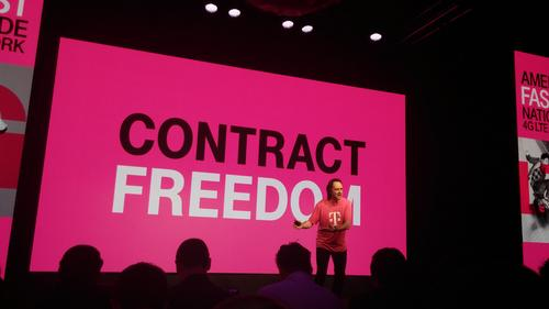 The backdrop is always pinker at a T-Mobile event.